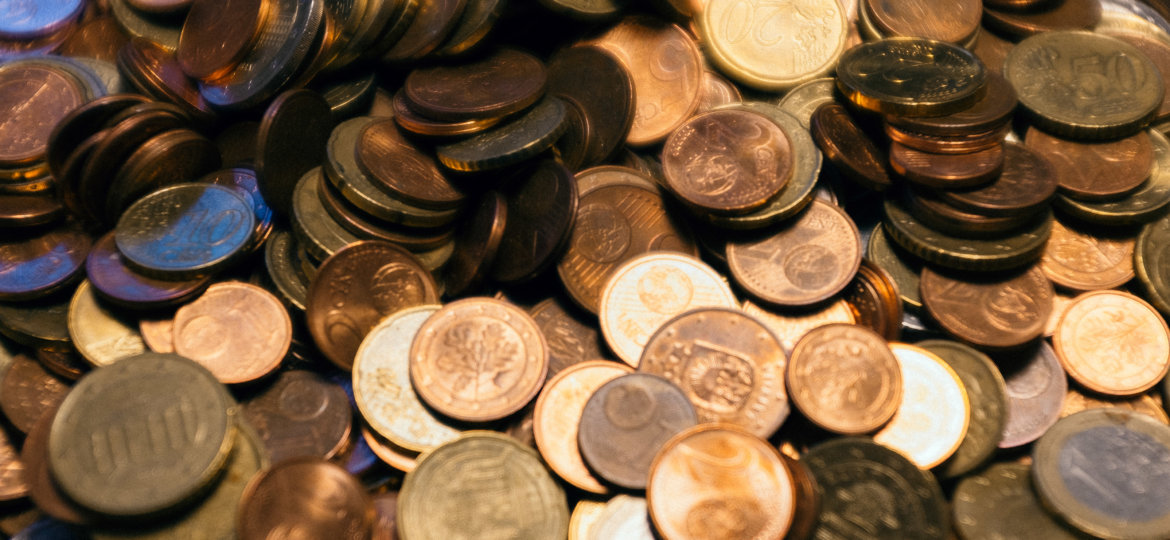 Pile of euro cent coins